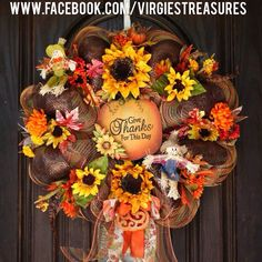 """Fall wreath- Fall 2014 23"""" Deco mesh wreath. Sunflower & scarecrow Wreath. Give thanks for this day."""