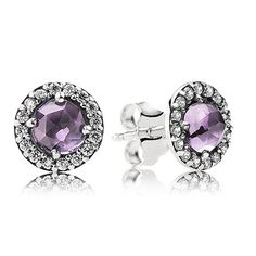 Silver stud earring with amethyst and cubic zirconia