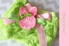 Easter Bloomer set Becky Bunny  Lime & Pink by MudpiesandPigtails, $19.95