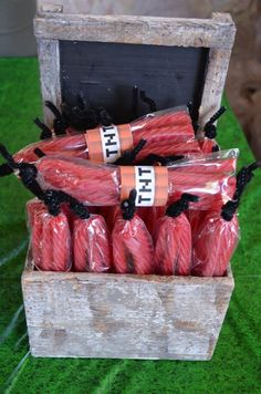 Love these red licorice TNT party favors. Cute for any party or Minecraft Party! Awesome Ideas via Kara' s Party Ideas