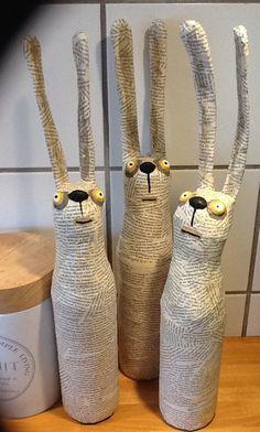 Strange easter bunnies by kittiekat.de Paper Mache Sculpture, Sculptures Papier, Paper Mache Clay, Easter Bunny, Easter Eggs, Easter Gift, Happy Easter, Easter Crafts, Cardboard Cartons