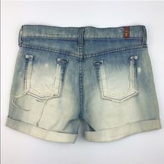 """[7FAM] Destroyed Denim Cuffed Shorts Bleach Boho Unique pair of customs denim shorts. Longer length with cuffed bottom. Button fly. Bleaching on front and back. Back pockets have been cut off and are frayed. Relaxed fit. Perfect for summer!   Waist: 15"""" Rise: 8"""" Inseam: 4"""" Fabric: 98% Cotton 2% Spandex  Condition: EUC. Distressed by design.  No Trades! 7 for all Mankind Shorts Jean Shorts"""