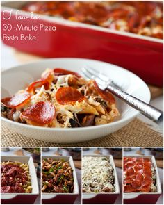 Pizza Pasta A fast and easy weeknight dinner idea the whole family will love! Entree Recipes, Pasta Recipes, Beef Recipes, Dinner Recipes, Cooking Recipes, Cooking Tips, Pizza Pasta Bake, Main Meals, I Love Food