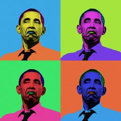 some andy warhol inspired portrait of barack obama