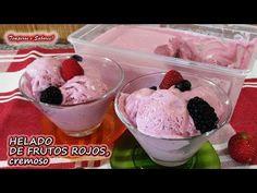 HELADO DE FRUTOS ROJOS CREMOSO con solo 4 ingredientes - YouTube Helado Keto, Helado Natural, Keto Ice Cream, Frozen Yogurt, Popsicles, Cake Pops, Healthy Snacks, Smoothies, Cooking Recipes