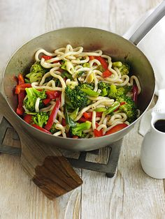This yaki udon noodle recipe is ready in 20 minutes and under 300 calories. Leave out the Worcestershire sauce for a vegetarian version