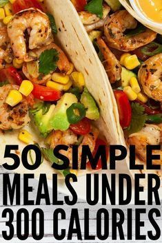 Lose weight without starving with this collection of 50 meals under 300 calories! These healthy, low carb, and super easy recipes are a cinch to whip up and are delicious to boot! With lots of breakfast, lunch, and dinner recipes to choose from, as well as vegetarian options, these filling meals will satisfy your hunger while also helping you lose weight and get back into shape. Being skinny never tasted so good! #healthyfood #healthyeating #weightloss #healthy #diet #cleaneating