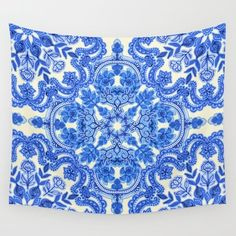 Wall Tapestry featuring Cobalt Blue & China White Folk Art Patte… by Micklyn