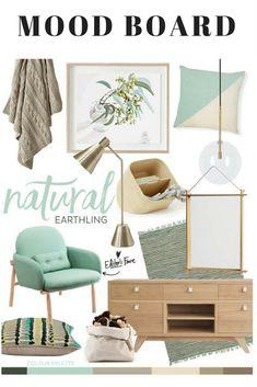Natural Earthling — Adore Home Magazine Mood Board Mood Board Interior, Interior Design Living Room, Interior Styling, Living Room Decor, Bedroom Decor, Kitchen Interior, Home Design, Design Design, Mint Decor