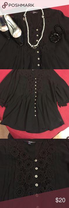 Black Lace Blouse Plus size 14w never worn. Beautiful lace details. Loose fitting. denim 24 Tops Blouses