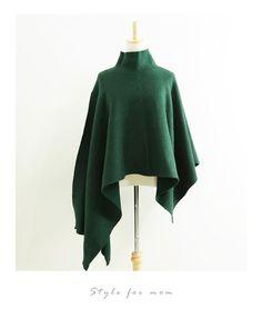 【楽天市場】(モスグリーン)ポンチョ風ニットの大人着こなしコーデ12/21新作:Style for mom