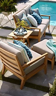 Midcentury design with palm springs panache. It's a new take on teak... | Frontgate: Live Beautifully Outdoors