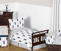 Features:  -Set includes: Toddler comforter, standard sham, standard pillowcase, fitted sheet and flat sheet.  -Colors: Navy blue, grey, and white .  -Fabric: Brushed microfiber.  -5 piece toddler bed