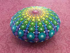 Jewel Drop Mandala Painted Stone Sea Urchin by ElspethMcLean