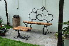 Rustic Bench and Table - Mark Reed Sculpture Iron Furniture, Steel Furniture, Unique Furniture, Furniture Design, Garden Furniture, Diy Garden Seating, Metal Garden Benches, Wood Steel, Wood And Metal