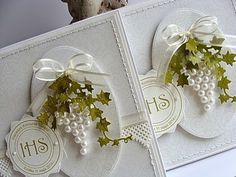 Sizzix Thinlits Die Set - Set de Primera Comunión (First Communion Set)homemade card for a communion celebrationAdore this card using pearls as a bunch of grapes with Die cut ivy for vines.Cool idea with pearls to make the grapes! Pretty Cards, Cute Cards, Envelopes Decorados, First Communion Cards, Confirmation Cards, Tarjetas Diy, Wedding Cards Handmade, Shabby Chic Cards, Ideias Diy