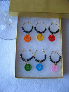 wine glass charms colourful buttons wine glass jewelry by pupinka