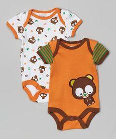 Look what I found on #zulily! Orange Bear Bodysuit Set - Infant by Nûby #zulilyfinds