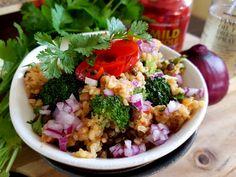 Quinoa Bulgar wheat and Peppadew salad with red onion and cilantro