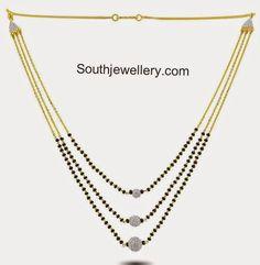 three step black beads chain