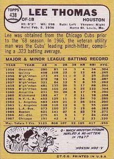 1968 Topps #438 Lee Thomas Back