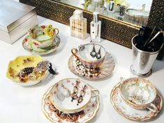 schmuckaufbewahrung leicht vintage teetassen ohrringe
