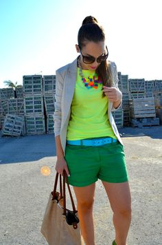 Neon yellow, green and blue with neutrals