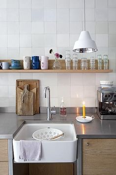 Wood, white and stainless steel #kitchen #lamp