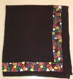 Mosaic fabric painting on the black cotton dupatta.