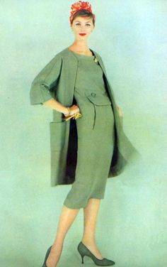 1958: love how classic and sheek this outfit is. Love the color!!