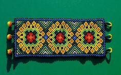 "Contemporary Jewelry - ""Huichol Bracelet - Peyote Portals & Vine of Life"" (Original Art from Harmonia de Luz (Harmony of Light) Shipibo Art, Shipibo textiles, Huichol art, ayahuasca art, world ) Beaded Jewelry Patterns, Beading Patterns, Seed Bead Bracelets, Seed Beads, Native American Jewellery, Seed Bead Projects, Mexican Designs, Lace Making, Beading Tutorials"