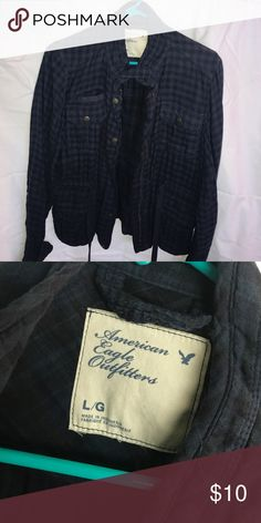 **American Eagle Navy and Black Plaid Jacket** Navy Blue and Black Plaid utility jacket from American Eagle. New condition worn twice. American Eagle Outfitters Jackets & Coats Utility Jackets