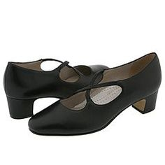 Edwardian style shoes - Trotters - Jamie Black Leather Womens 1-2 inch heel Shoes $93.00 AT vintagedancer.com