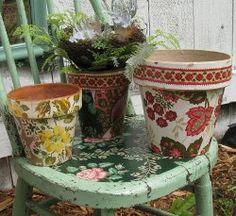 Wallpaper Decoupage Flower Pots- great idea! I'm always looking to dress up boring pots!!