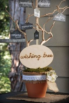This rustic sign is a unique addition to your wedding reception decor. The wishing tree wood sign features handwritten wood-burned cursive lettering. Display this natural sign on or in front of your wishing tree. Save On Crafts, Diy And Crafts, Cute Gifts, Diy Gifts, Diy Presents, Rustic Wood Signs, Wedding Signs, Wedding Reception, Wood Crafts