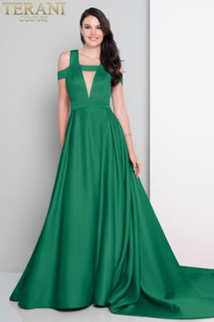 Terani Couture double faced satin prom ball gown with long bustle train. features sheer geometric insets at the structured bodice Prom Party, Party Gowns, Bridesmaid Dresses, Prom Dresses, Formal Dresses, Dress Prom, Terani Couture, Dress Collection, Ball Gowns