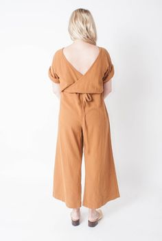 Esby Duffy drawstring cotton jumpsuit in camel