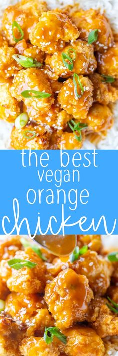 The is the absolute BEST Vegan Orange Chicken Recipe! The crispy cauliflower has amazing texture and the homemade orange sauce is super flavorful! Kid and meat loving husband approved! Easy to make and much healthier than the original recipe! #orangechicken #vegan #veganorangechicken #dinner #kidfriendly Slow Cooker Recipes, Beef Recipes, Chicken Recipes, Turkey Recipes, Yummy Recipes, Yummy Food, Vegan Orange Chicken Recipe, Best Vegetarian Recipes, Vegan Meals