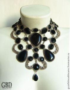 Колье, бусы ручной работы. Ярмарка Мастеров - ручная работа Baroque lace в черном. Handmade.