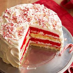 Our Peppermint Dream Cake adds piazazz to any holiday meal! More cake and pie ideas: http://www.bhg.com/recipes/desserts/pies/make-ahead-pies-tarts/?socsrc=bhgpin110713peppermintdreamcake&page=1