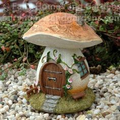 Fairy Homes and Gardens - Miniature Mushroom Fairy House with Morning Glories, $20.90 (https://www.fairyhomesandgardens.com/miniature-mushroom-fairy-house-with-morning-glories/) #miniaturefairygardens