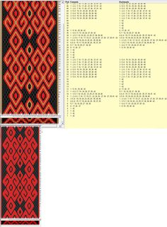 42 cards, 2 / 3 colors, repeats every 24 rows, GTT༺❁ Inkle Weaving, Inkle Loom, Card Weaving, Basket Weaving, Tablet Weaving Patterns, Weaving Textiles, Viking Knit, Card Patterns, Darning
