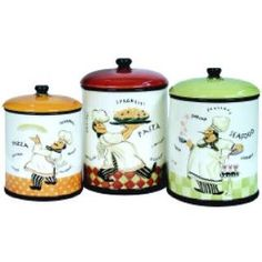 Fat Italian Chef Home Decor Kitchen Canister SET French Canisters 3 Three Chefs Cooks