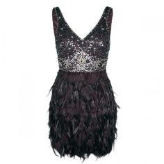 JENNA LES COLLECTIONS Robe à plumes et corsage pailletté 850 $ - Sequin Body Dress with Feathers