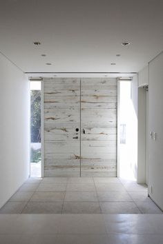 Architecture, Antique White Wooden Double Door With Clear Glass Window And White Ceiling With Downlights: Modern Villa Design Encompassing the Brightness and Airy Atmosphere