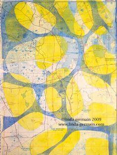 gelatin printmaking on maps