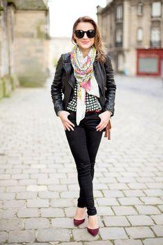 Black denim + black leather jacket + mixed prints.