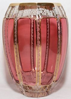 "MOSER CRANBERRY GLASS & GILT VASE, H 8"":Oval shape with cranberry panel sides and gilt accents."