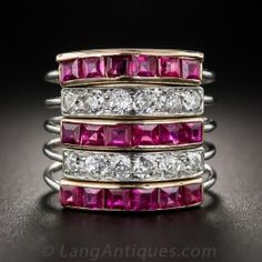 Art Deco Ruby and Diamond Five-Band Ring