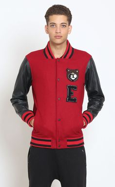 Entree LS red varsity jacket with detachable patches - 175.00 USD c10b85e825563